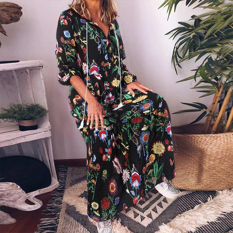 VONDA Vintage Sundress Floral Printed Dress Women Casual Loose Long Maxi Dresses Bohemian Vestidos Plus Size Party Robe Femme