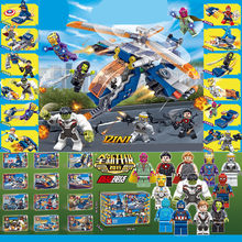 12Pcs Marvel Avengers Super Heroes Captain America Spiderman Thanos Iron Man Building Blocks Bricks Legoinglys Kits Toys Gift(China)