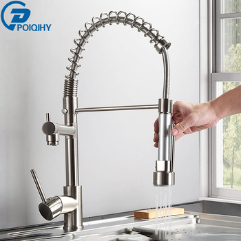 Brushed Nickel Kitchen Faucet Dual Function Spout Pull Down Shower Spray Swivel Spout Kitchen sink Taps Cold Hot Mixer tap crane 1