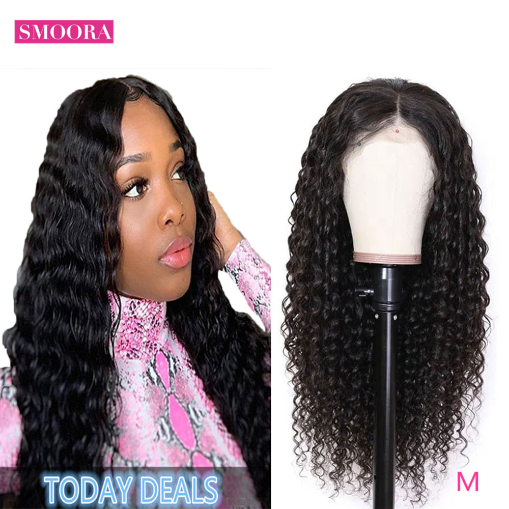 Deep Wave Lace Front  Wigs 13X1 Middle Part Lace Wig Pre Plucked With Baby Hair 150% Density 10-30Inch 1