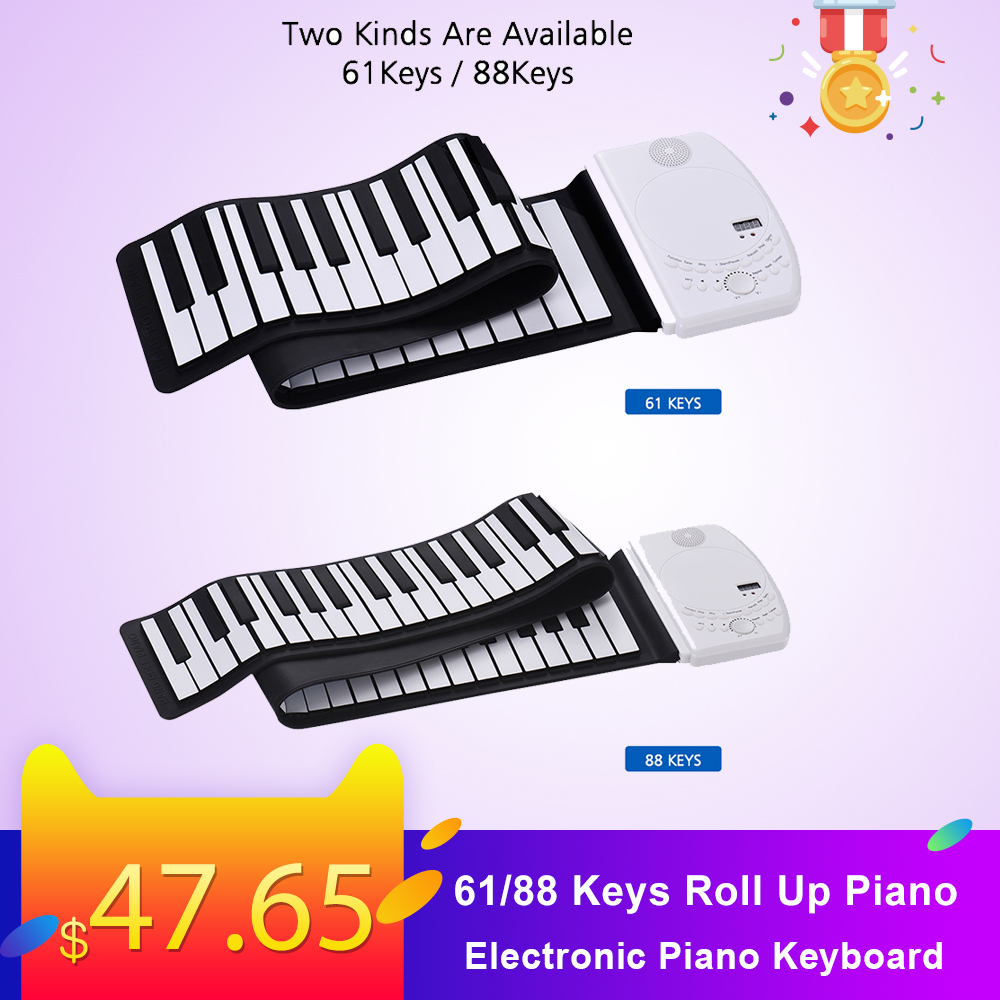 Portable 88 Keys Roll Up Piano Flexible Soft Silicone Electronic Piano Keyboard Battery Standard Piano Tone Children Beginners