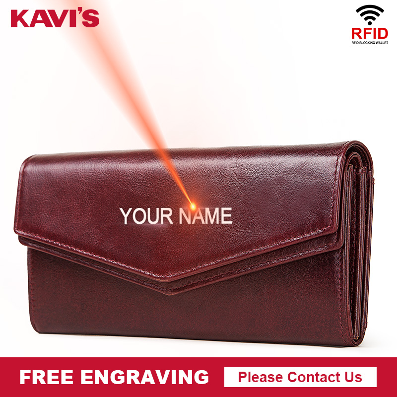 KAVIS Free Engraving High Capacity Genuine Leather Wallet Female Coin Purse Women Portomonee Clutch Clamp Money Bag Card Holders