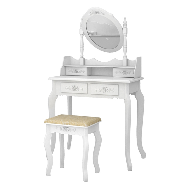 Modern Concise 4 Drawer Dressing Table, 360 Degree Rotation Pull-out Mirror, White Dressing Table with Stool 5