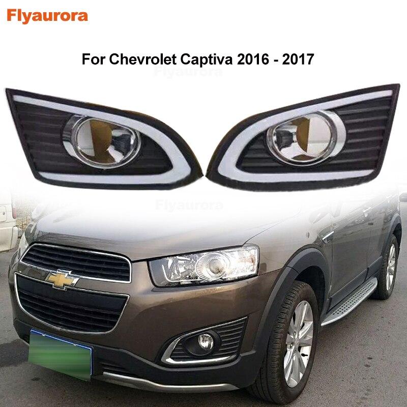 LED Daytime Running Light Turning Signal Lamp DRL Day Front Bumper Fog Light Cover Frame For Chevrolet Captiva 2011/12-15/16/17