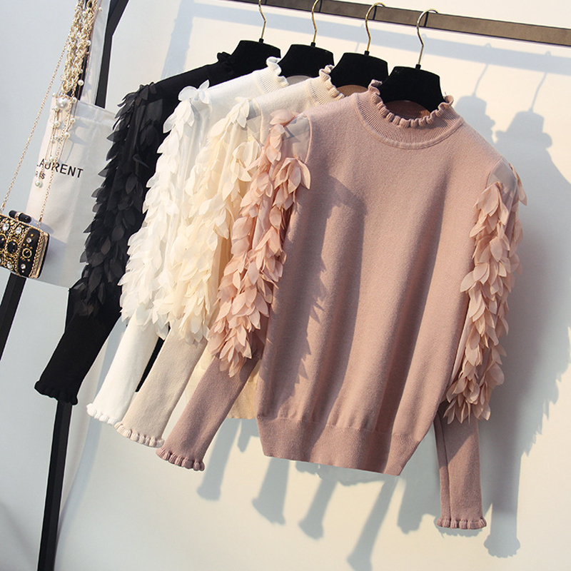 Ruffled Collar Knitted Sweater Women Mesh Splice Sleeves Pullovers Sweaters Fashion Flowers Pullovers Blusa De Frio Feminina