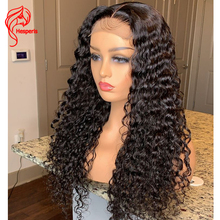 Hesperis onda de água base de seda perucas remy brasileiro 5.5x4.5 couro cabeludo do plutônio fechamento superior do laço perucas encaracoladas profundas do cabelo humano para preto