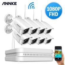 ANNKE 8CH 1080P FHD bezprzewodowy dostęp do internetu bezprzewodowy NVR System CCTV 8 sztuk kamera IP WIFI IP66 wodoodporna kamera do monitoringu CCTV nadzoru zestawy