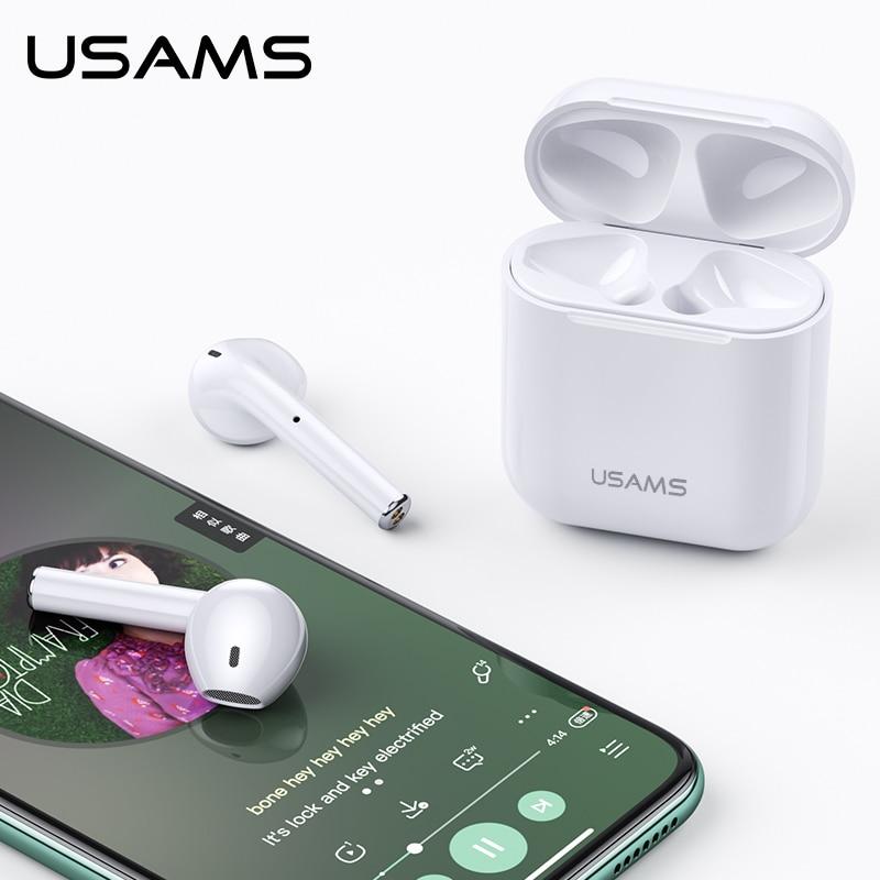 Usams Bluetooth Earphone For Iphone Xiaomi Earbuds Tws Mini Wireless Bluetooth Headphones Headset For Iphone With Charging Box Bluetooth Earphones Headphones Aliexpress