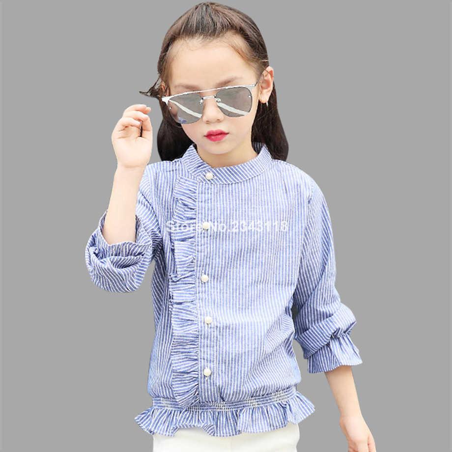 Abesay Outono Blusa Para Meninas Da Escola Meninas Blusa Camisa Listrada de Manga Longa Crianças Primavera Roupas Da Menina Adolescente 4-12 anos