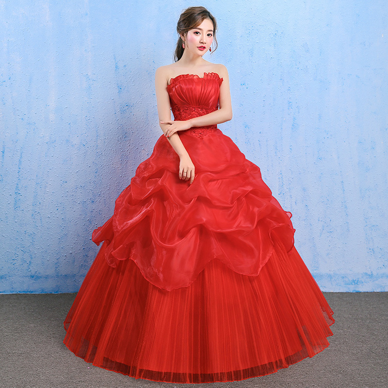 2019 Limited Vestido Cocktail Robe De Cocktail Courte Korean Wedding Dress 2020 Autumn New Bridal Simple And Slim Puff Skirt