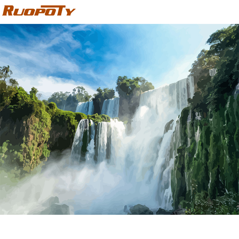 H6879968817714e51a7550a847d10a63dZ RUOPOTY Frame Mountain Lake DIY Painting By Numbers Landscape Handpainted Oil Painting Modern Home Wall Art Canvas Painting Art