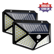 LT00N 100 LED Four-Sided Solar Power Light 3 Modes 120 Degree Motion Sensor Angle Wall Lamp Waterproof Outdoor Yard garden lamps