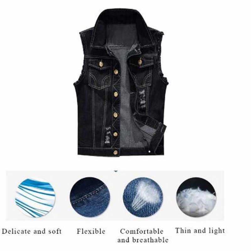 Mode Slanke Mannen Jeans Mouwloze Jas Vest Plus Size 6XL Zwart Denim Jeans Vest Mannelijke Cowboy Outdoors Vest Mens Jacket