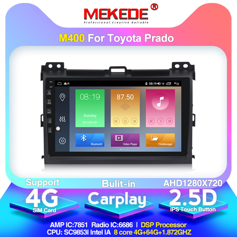 4G LTE android10 4G+64G Car Multimedia GPS Navigation Radio Player for <font><b>Toyota</b></font> Land Cruiser <font><b>Prado</b></font> <font><b>120</b></font> 2004-2009 Built-in DSP IPS image