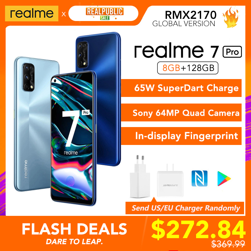 Realme 7 Pro Globale Version 8GB RAM 128GB ROM 65W SuperDart Ladung 64MP Quad Kamera AMOLED Vollbild in-display Fingerprint Neue