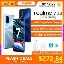 Realme 7 pro versão global 8gb ram 128gb rom 65w superdart carga 64mp quad câmera amoled fullscreen in-display impressão digital novo