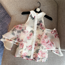 Flower Shirt Woman 2020 Spring and Summer New Temperament Ladies Sexy Strapless Shirt Printing Organza Chiffon Shirt Female Tops