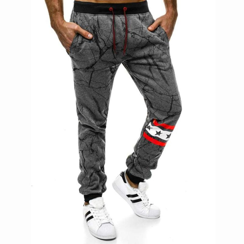 Fashion Trend Summer Men Trousers Pockets Loose Version Lace-Up Personality Printing Daily Leisure Sports Spring Pants