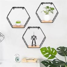 6-Sided High 26cm Large Shelf Office Home Wall-Mounted Storage Black Storage Rack Metal Wrought Iron Decoration
