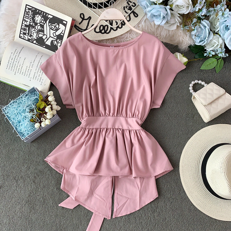 Peplum Top Chiffon Blouse Summer Clothes Womens Tops And Blouses Blusas Mujer De Moda 2019 Korean Asymetrical Bow Shirt Tunic(China)