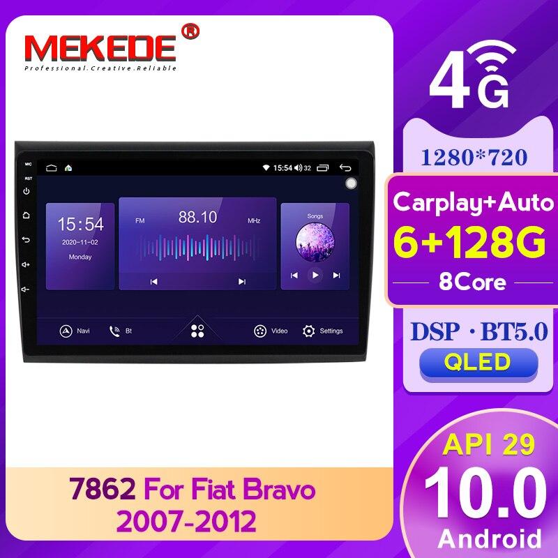 Mekedeアンドロイド10 API29 BT5.0 dsp carply 6 + 128グラムオートラジオマルチメディアフィアット/bravo 2007-2012 1280*720qled画面ラジオステレオ