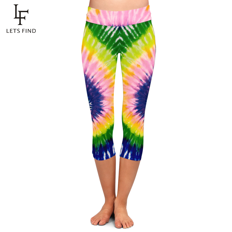 LETSFIND New Arrival Beautiful Tie-dye Digital Printing Plus Size Women Capri Leggings Fashion High Waist Women Workout Pants