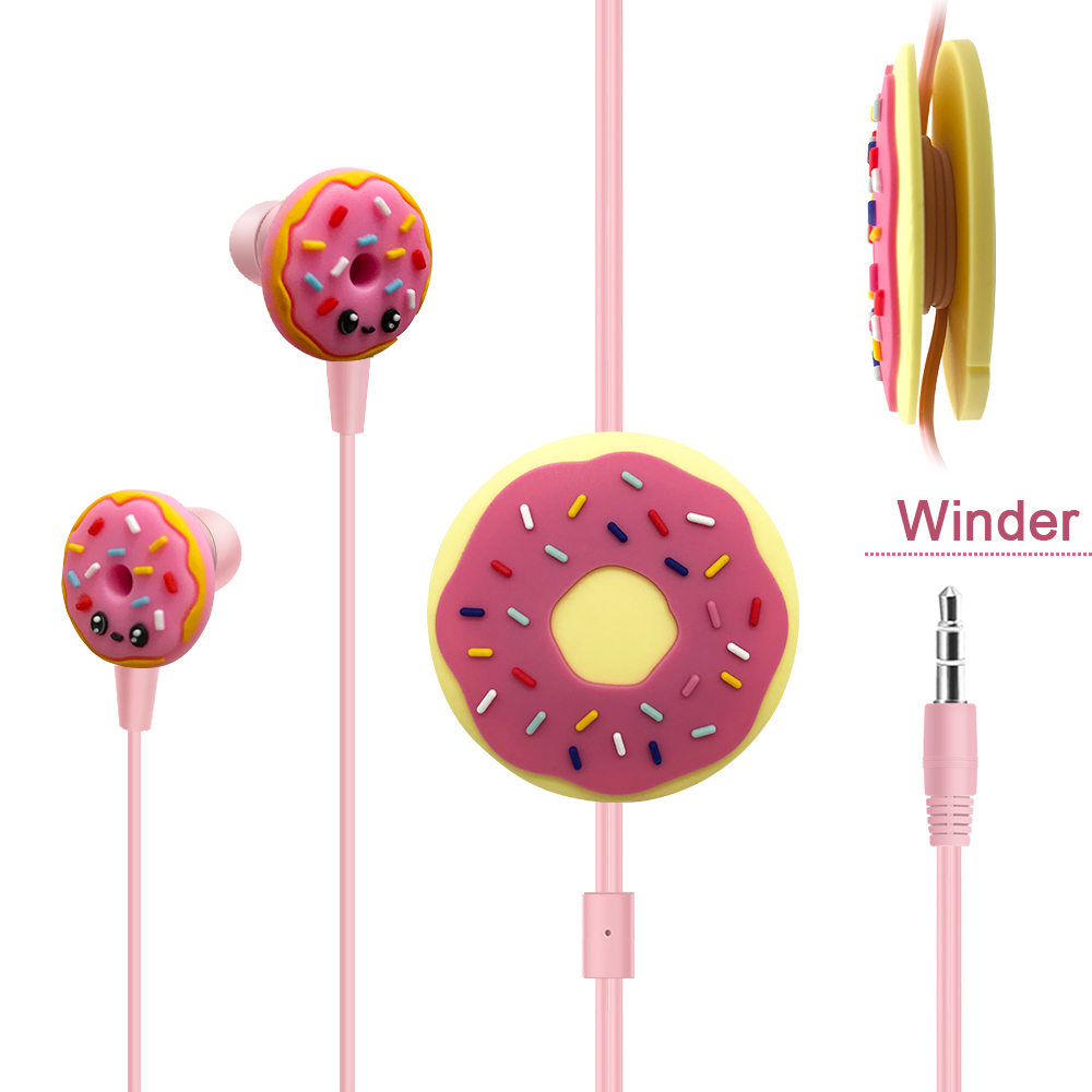 Funny Donut Wired Earphones 3.5mm Jack Phone Earbuds Headphones With Cable Organizer For iPhone Samsung Huawei Kids Girl Gifts