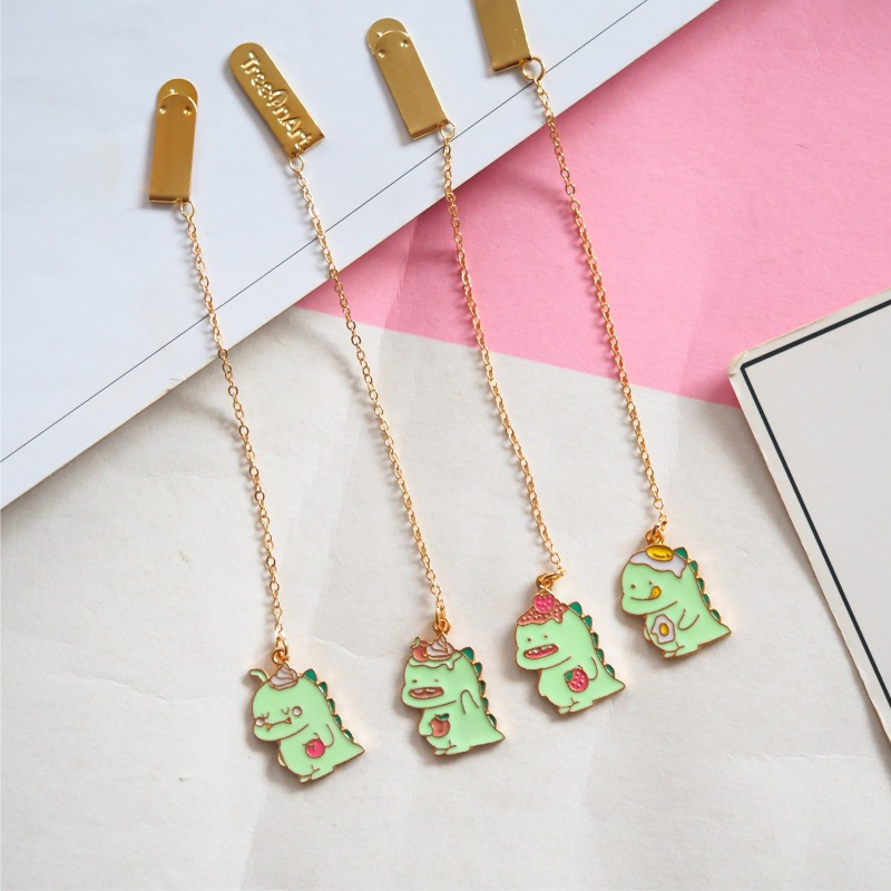 Kawaii Smile Small Dinosaur Alloy Pendant Bookmark Stationery School Office Supply Escolar Papelaria