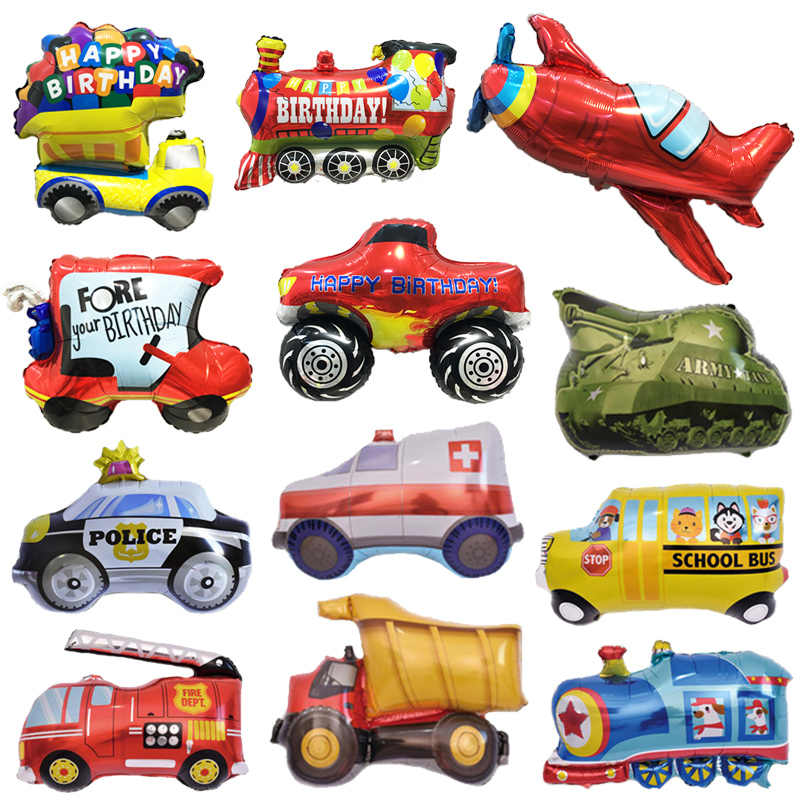 1Pcs Cartoon Big Car Balloons Fire Truck Cars Train Foil Balloon Police Globos Baby Boys Gifts Birthday Party Decor Kids balls