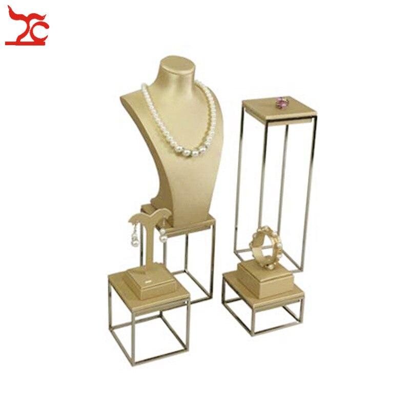 Acier inoxydable bijoux collier anneau Bracelet organisateur or PU pendentif montre Bracelet chaîne fenêtre comptoir vitrine support