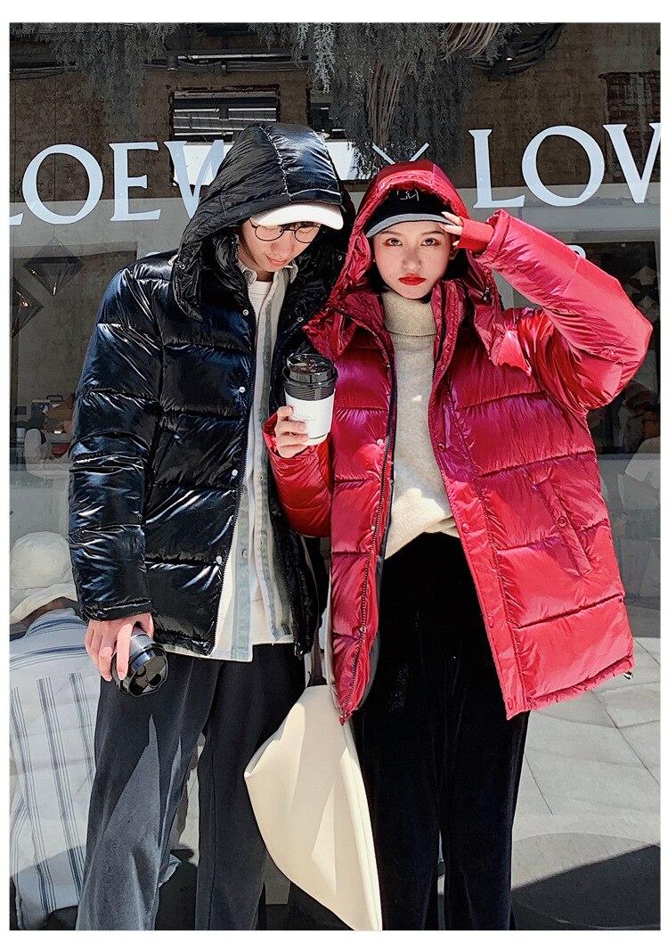 Зимнее хлопковое пальто для фотосессии, женская одежда для влюбленных в студенческом стиле с яркой поверхностью, одежда с хлопковой подкладкой, короткое пальто для студентов