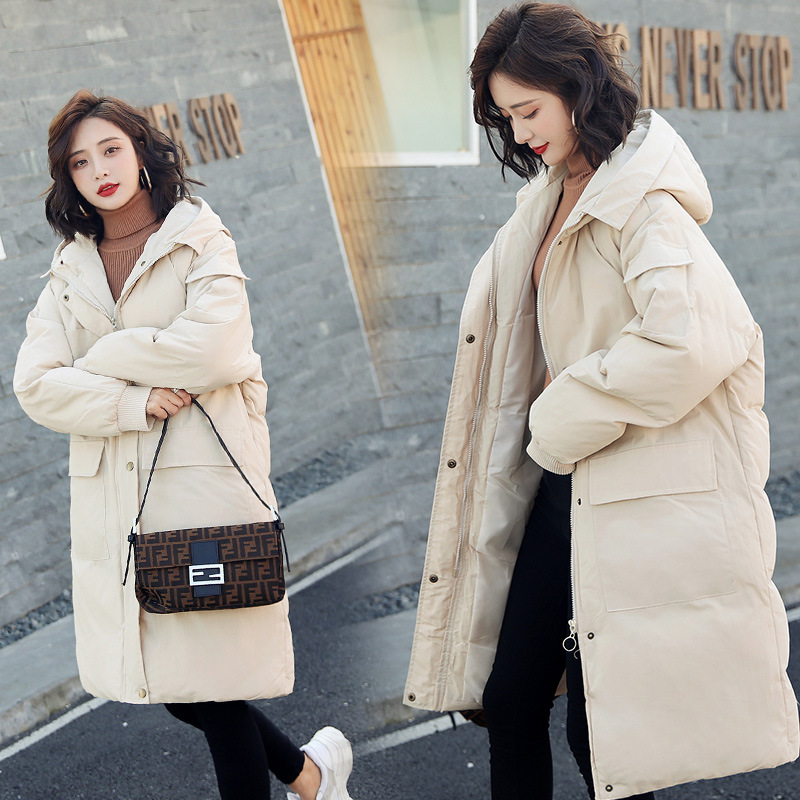 Cotton Coat Women's Mid-length 2018 New Style Korean-style Students Down Coat Loose-Fit BF Down Feather Cotton-padded Clothes Th