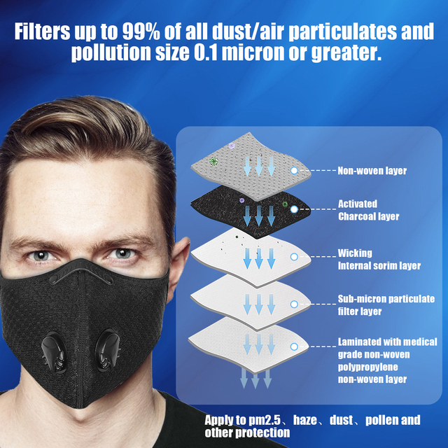 2PCS Fabric Face Mask With Filte Activated Carbon PM 2.5 Anti Pollution Running Cycling Masks Sport Protection Facemask 1