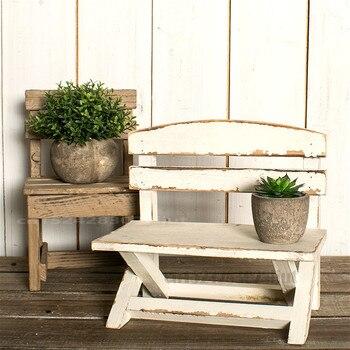 Taburete pequeño hecho Vintage, silla pequeña creativa personalizada, estante de flores de madera maciza, estantes para foto de flores en interiores, accesorios