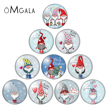 Merry Christmas Santa Claus Gifts 10pcs mixed 12mm/18mm/20mm/25mm Round photo glass cabochon demo flat back Making findings - discount item  10% OFF Jewelry Making
