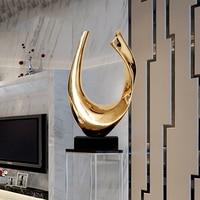 50cm chapeamento de ouro prata abstrato forma u resina estátua artesanato decoração mármore para casa hotel escultura escultura decoração acessórios|Estátuas e esculturas| |  -