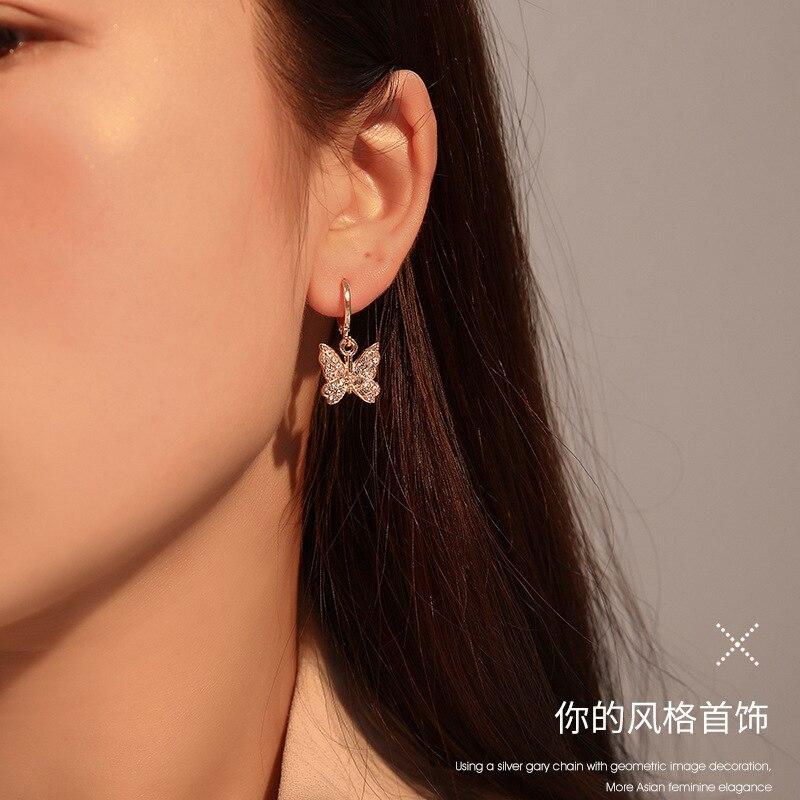 20202  French Elegant Hoop Earrings for Women Delicate Crystal Drop Butterfly Earrings Jewelry Trendy Aesthetic Aretes De Mujer-in Drop Earrings from Jewelry & Accessories on AliExpress