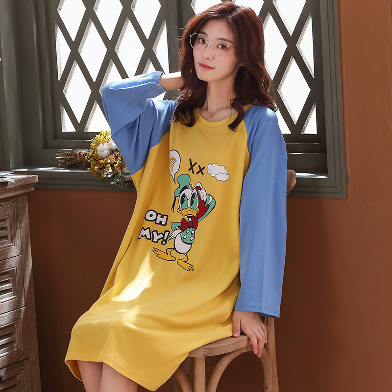 6118 # Tang. Small. Duck Pullover YD Long Sleeve Korean-style Sweet Pajamas Nightgown Homewear Set Plus-sized