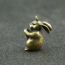 Copper Rabbits Miniatures Figurines Small Ornaments Vintage Brass Animal Home Decor Desk Decorations Key Rings Pendants DIY