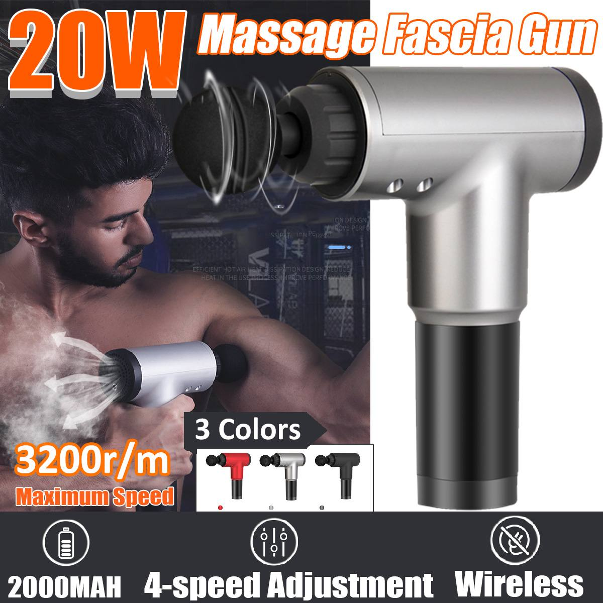 Professional 3200r/min Therapy Massage Guns 4 Gears Muscle Massager Pain Sport Massage Machine Relax Body Slimming Relief 4 Head