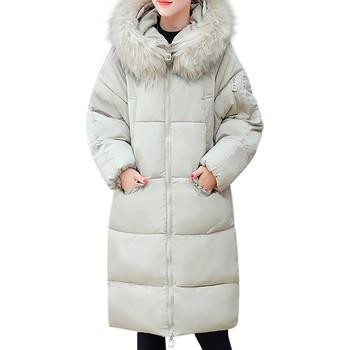 AMSGEND odzież damska moda damska płaszcz zimowy futro szyi dół ciepły płaszcz Casual codzienna kurtka damska długa kurtka damska tanie i dobre opinie CHAMSGEND CN (pochodzenie) Zima REGULAR Osób w wieku 18-35 lat Skręcić w dół kołnierz zipper Na co dzień Pełna coat