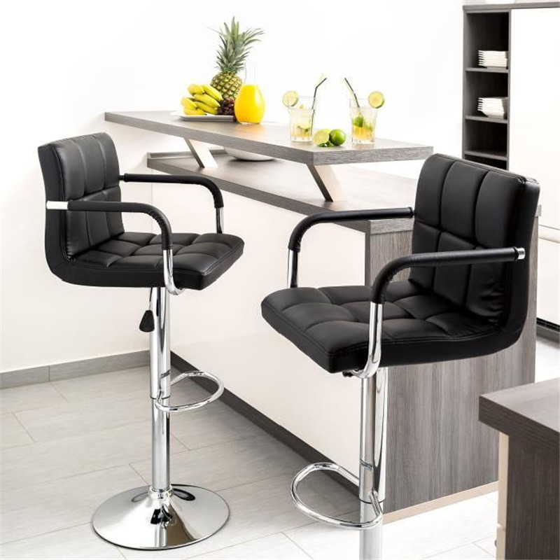 2Pcs/set Six-grid Cushion Chair Bar Stools Swivel Height Adjustable Chairs Synthetic Leather With Footrest Armrest HWC