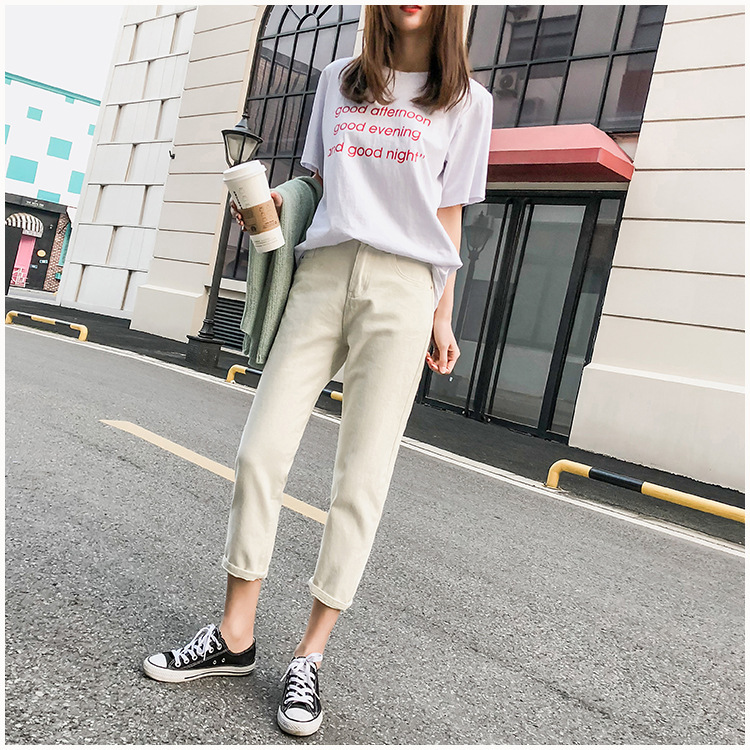 WOMEN'S Jeans Women's 2019 Spring And Summer New Style Korean-style Loose-Fit Versatile Students High-waisted Straight-Cut Capri