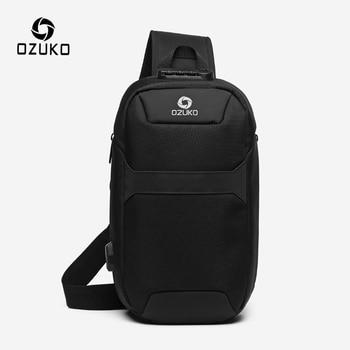 Bandolera antirrobo para hombre OZUKO, mochila para el pecho con carga USB resistente al agua para hombre, bolsa de mensajero de viaje corta, bolsa de hombro para el pecho