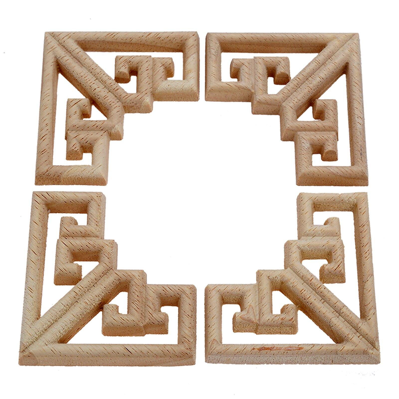 4PC 6.5cm Woodcarving Corner Decal Wood Figurines Crafts Corner Appliques Frame Door Furniture Woodcarving Decorative Home Decor