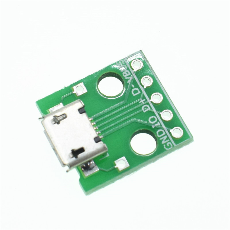 10pcs Female MICRO USB to DIP 5-Pin Pinboard 2.54mm micro USB type 5