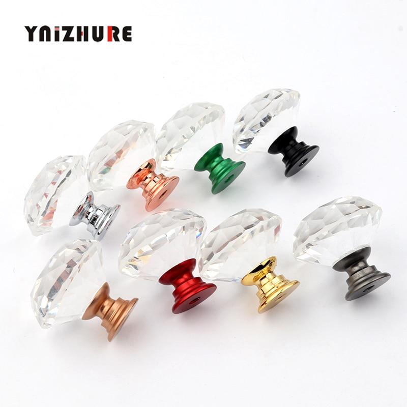 YNIZHURE Brand Luxury K9 Crystal Glass Diamond Design Knobs Cupboard Drawer Pull Kitchen Cabinet Door Wardrobe Handles Hardware