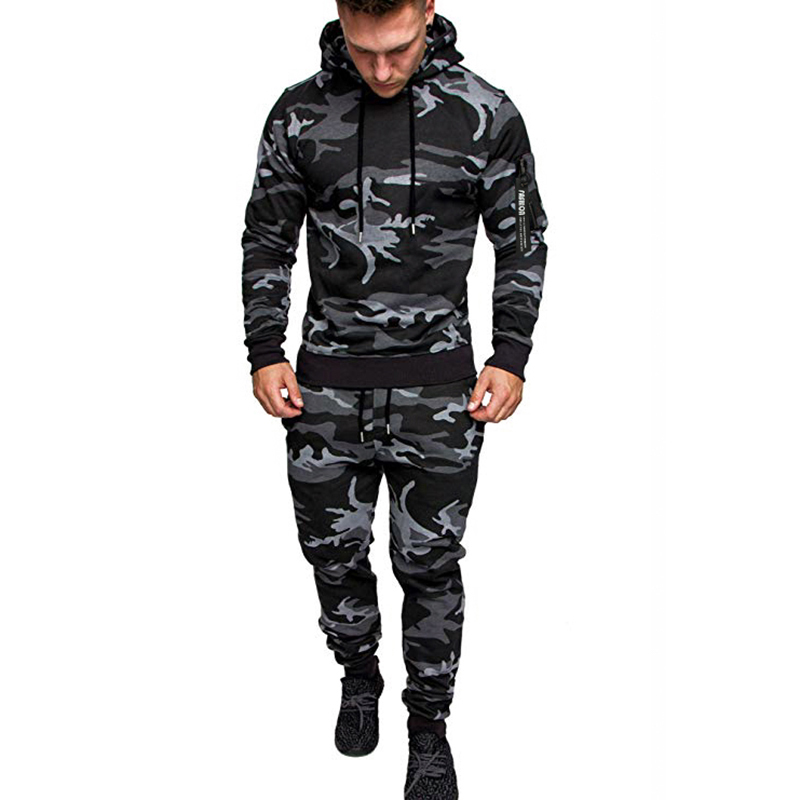 Autumn And Winter Men's Casual Sports Suits In Europe And America, Men's Camouflage Outdoor Sportswear Hooded Jacket + Pants Spo
