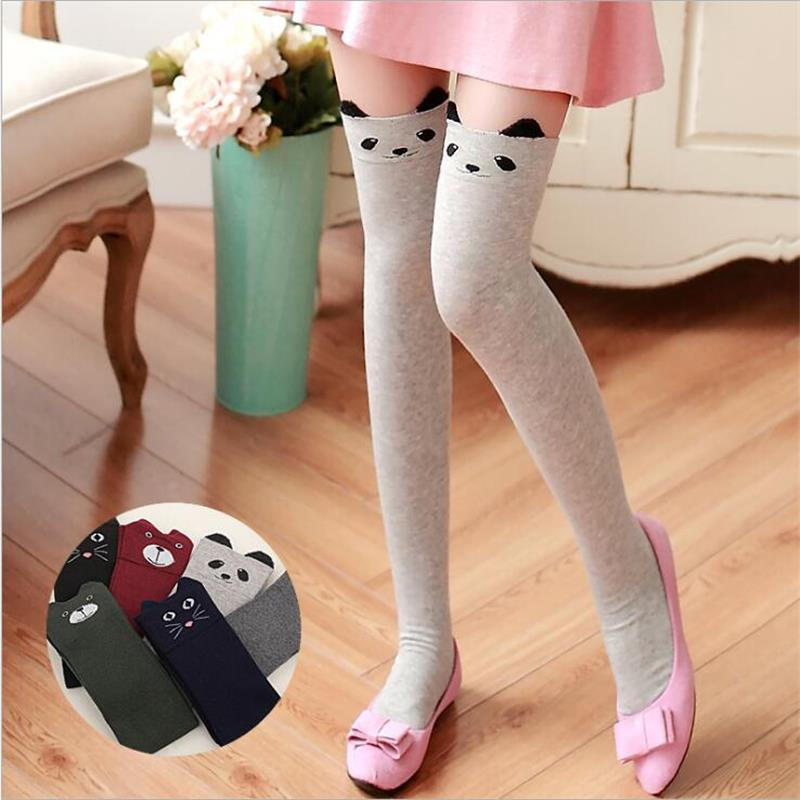 Korean Cute Cat Bear Stereo Ear Cotton Knee-high Socks Uniform Stocking Kawaii Japanese Women Cartoon Thigh High Sock Above Knee