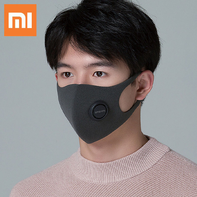 Xiaomi SmartMi Black PM2.5 Mouth Mask Anti Pollutio Dust Mask Bacteria Proof Flu Face Masks Filter Respirator with Breath Valve